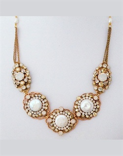 Haute Bride Rose Gold Coin Pearl & Opal Necklace