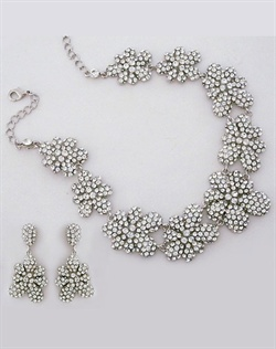 Pave Floral Crystal Bridal Jewelry Set