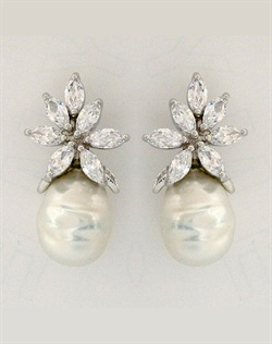 Baroque Pearl with CZ Design Earrings
