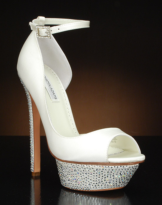Peep toe Platform D'orsay with ankle strap and Austrian crystals