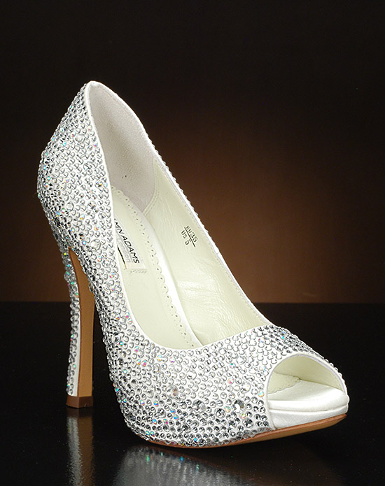 Peep toe platform pump with Austrian crystals