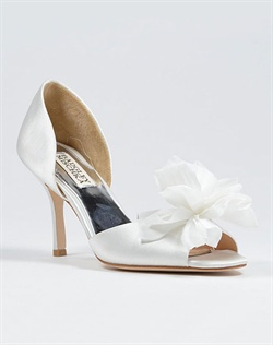 Peep toe D&#39;orsay with fabric flower