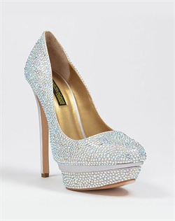 Round toe platform pump with austrian crystals