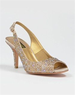 Peep toe sling back with Austrian crystals