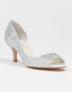Peep toe D'orsay with Austrian crystals