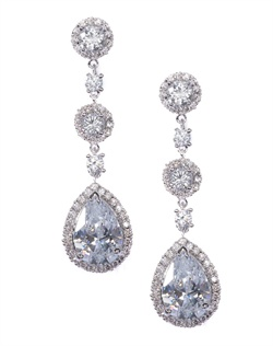 Elegantly designed classic crystal drop earrings crowned with cubic zirconia accents. These earrings are brass with rhodium plating (shown in silver finish) and come standard with a post back.