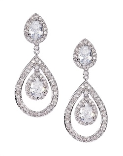 Shimmering drop earrings fashioned with a briolette crystal enveloped by pavé cubic zirconia accents. These earrings are brass with rhodium plating (shown in silver finish) and come standard with a post back.
