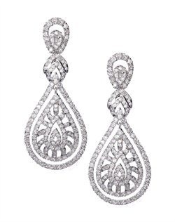 Daring chandelier statement earrings bestowed with double teardrops and an intricate pattern and pavé cubic zirconia. These earrings are brass with rhodium plating (shown in silver finish) and come standard with a post back.
