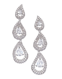 Show-stopping statement chandelier triple drop earrings set in elegant folds of cubic zirconia. These earrings are brass with rhodium plating (shown in silver finish) and come standard with a post back.