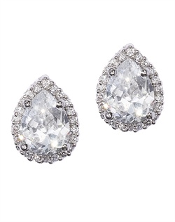 Classic crystal stud earrings framed by round-cut cubic zirconia and beads. These earrings are brass with rhodium plating (shown in silver finish) and come standard with a post back.