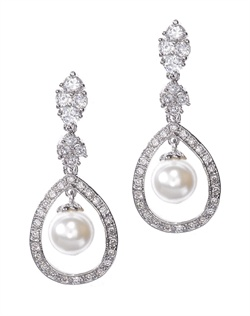 Classically styled drop earrings dotted with round-cut crystals and silver accents, emphasized by a pear-shaped frame of pavé cubic zirconia and baroque-shaped, man-made pearl. Earrings are brass with rhodium plating (shown in silver finish) with a post back.