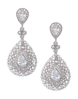 Chandelier statement earrings with faceted teardrop crystals enveloped by pavé cubic zirconia, and three rows of delicate crystals patterned in a teardrop design. Earrings are brass with rhodium plating (shown in silver finish) with a post back.