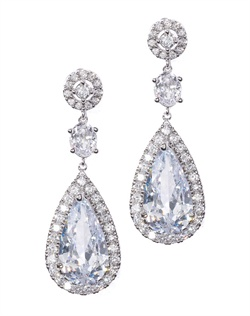 Classically designed earrings with bold, faceted crystal teardrops enveloped by shimmering cubic zirconia. These earrings are brass with rhodium plating (shown in silver finish) and come standard with a post back.