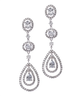 Classic chandelier earrings with a sleek silhouette and a pear drop dotted with shimmering cubic zirconia. These earrings are brass with rhodium plating (shown in silver finish) and come standard with a post back.