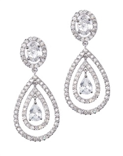 Classic teardrop earrings gracefully set in concentric ovals dotted with round-cut cubic zirconia and sparkling silver beads. These earrings are brass with rhodium plating (shown in silver finish) and come standard with a post back.