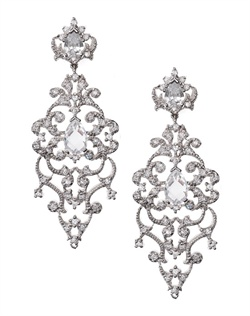 Intricate vintage chandelier earrings embellished with open scrollwork, cubic zirconia and faceted crystal. These earrings are rhodium-plated metal (shown in silver finish, show in antique finish on model) endowed with silver tone and come standard with a post back.