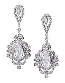 Vintage chandelier earrings with a crystal centerpiece enveloped by cubic zirconia accents. These earrings are brass with rhodium plating (shown in silver finish) and come standard with a post back.