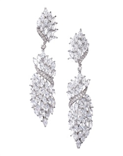 Bold chandelier earrings lavishly adorned with marquise crystals and a twist of round-cut crystal accents. Brass with rhodium plating (shown in silver finish) with post back.
