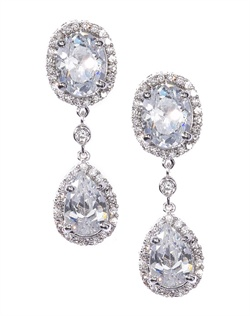 Bold double drop crystal earrings accented with pavé cubic zirconia. These earrings are brass with rhodium plating (shown in silver finish) and come standard with a post back.