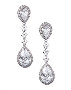 Elegant four-drop earrings adorned with two pear-shaped crystals bordered by pavé crystals, sprinkled with three brilliantly faceted, round-cut crystals. Earrings are brass with rhodium plating (shown in silver finish) with a post back.