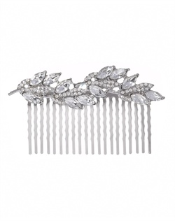 Sinewy hair comb with bold marquise faceted crystals and petite pavé cubic zirconia. Brass with rhodium plating (shown in silver finish).