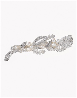 Vintage hairpin with intricate silver details adorned with round-cut cubic zirconia and white, man-made pearls. Brass with rhodium plating (shown in silver finish).