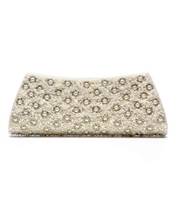 Shimmering purse embellished with a floral motif of white, man-made pearls and stones, accented by stones. The pearl chain strap can be tucked into purse to transform into clutch.