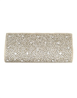 Dazzling gold-tone purse sprinkled with petite and bold faceted round-cut crystals. Chain strap can be tucked into purse to transform into clutch.