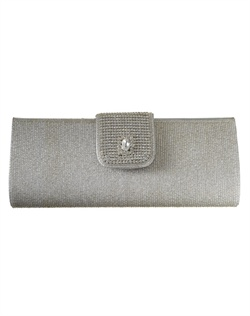 Elegant purse fashioned with a central jeweled closure dotted with pavé cubic zirconia. Chain strap can be tucked into purse to transform into clutch (shown in silver).