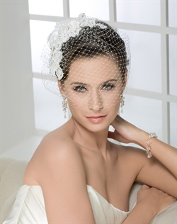 Romantic Alençon lace flowers with French Net blusher on a comb.
