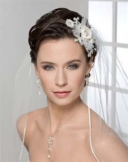 Side comb of satin flowers with beaded venise lace accent and organza petals. Shown with a 1 layer elbow length veil with 1/8&quot; satin ribbon edge (V9999).