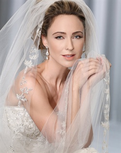 Cathedral veil with dramatic silver beaded leaf design along the edge. Also available in elbow length.