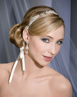 Sparkling rhinestone motif headband with bias satin ties.