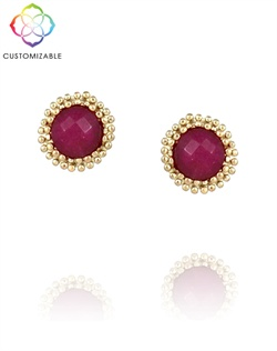 Customized Round Stud Earrings