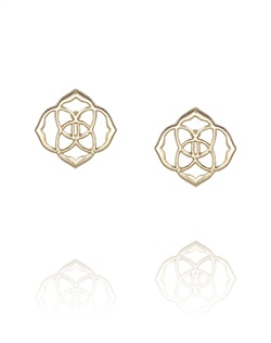 Gold Medallion Stud Earrings