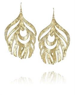 Golden Feather Statement Earrings