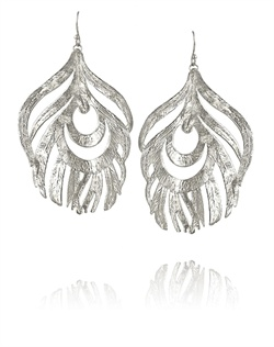 Silver Feather Statement Earrings