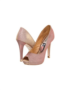 "Ultra feminine Peep toe pumps with an iridescent essence. The Rose color changes to a stunning gold with any step or change of light. The 4.75"" heel is balanced with a 1/2"" platform front. Available in Rose Gold."