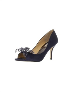 "Beautiful and elegant peep toe pumps in a rich deep navy satin. The classic design of the peep toe pump is gorgeously updated with a wire framed lace and rhinestone flower at the toe. The perfect 3"" heel is great for any occasion as is the beautiful navy shade. Available in nevy satin."""