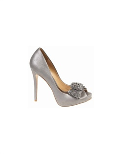"The Badgley Mischka Vonda peep toe pumps are the perfect compliment to any evening look. The covered platform peep toe design are right on trend and offer secure fit. The 4 1/2"" heel is perfectly balanced with a 1"" platform front. The toe features a beaded fabric fold bow design that creates interest and a bit of sparkle"