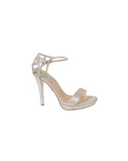 "The Badgley Mischka Viveka sandals are simply stunning. The minimalistic design of these sandals allow the heel to be the spotlight of the style. The Simple strap and platform front are the perfect compliment to the gorgeous lattice style heel cap. The 4 3/4"" heel is balances nicely with a 1"" platform for stability"