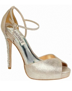 Fabulous fashion forward platform peep toes with encrusted heel. These stunning sandals feature a peep toe front with a 3/4&quot; platform. The 5&quot; heel is fully encrusted in glittering crystals that catch the light with every step.