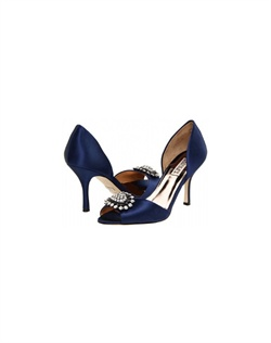 "Elegant peep toe's with stunning crystal brooch at toe. The rich Navy color is the perfect shade for any alternative bride, bridesmaid or guest. This style is bound to get noticed by everyone. The modest 3.5"" heel is perfect for any event. Available in Navy, Diamond White and Platinum Metallic."