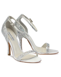 The Benjamin Adams Alba shoes are a sophisticated halter back strappy sandal encrusted with beautiful ab and clear crystals. The streamlined design focuses on the glittering crystal embellishments. The heel measures 3 3/4