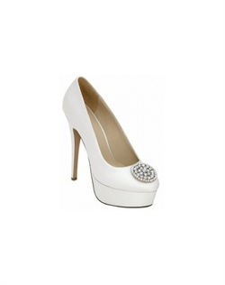 "The Brianna Leigh Claudia wedding shoe is an impressive high heel platform pump featuring a dazzling highlight rhinestone embellished ornament. Brianna Leigh Claudia is available in both white and ivory supple silk up to size 12. 4 3/4"" heel, non-dyeable."
