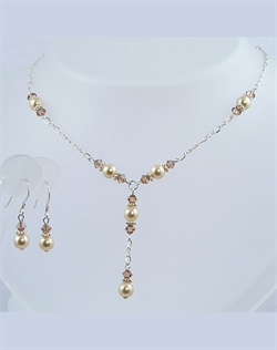 Swarovski Crystal and Pearl Necklace and Earring Set. Sterling Silver or 14K Gold fill. Choose your colors. Adjustable