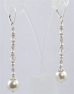 "Swarovski Crystal and Pearl Drop Earrings. Sterling silver or 14K gold fill. Various colors available;  2"" length."