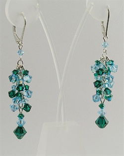 "Swarovski Crystal Chandelier Earrings. Sterling silver or 14K gold fill. Various colors available;  1.75"" length."