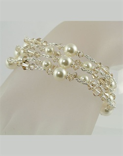 Swarovski Crystal and Pearl multi strand bracelet. Sterling silver or 14K gold fill. Various colors available. Adjustable