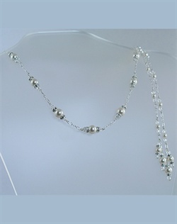 Swarovski Crystal and Pearl Back Drop Lariat Necklace. Sterling silver or 14K gold fill. Various colors available.